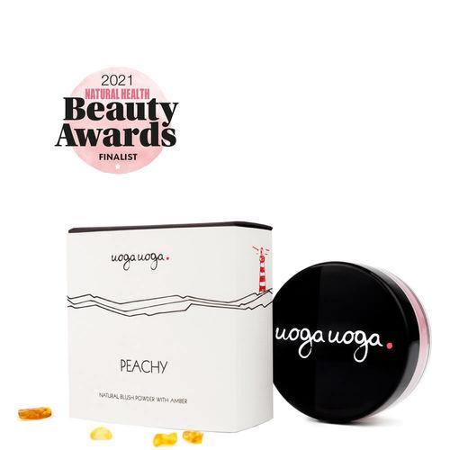 Peachy: Blush pulbere natural, vegan cu chihlimbar   Uoga Uoga