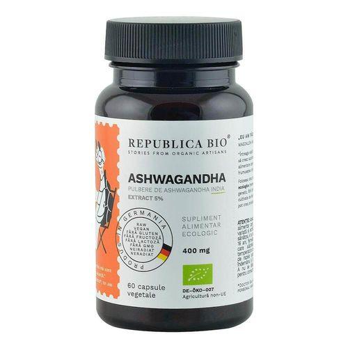 Ashwagandha Ecologică Extract 5%, 60 capsule | Republica BIO