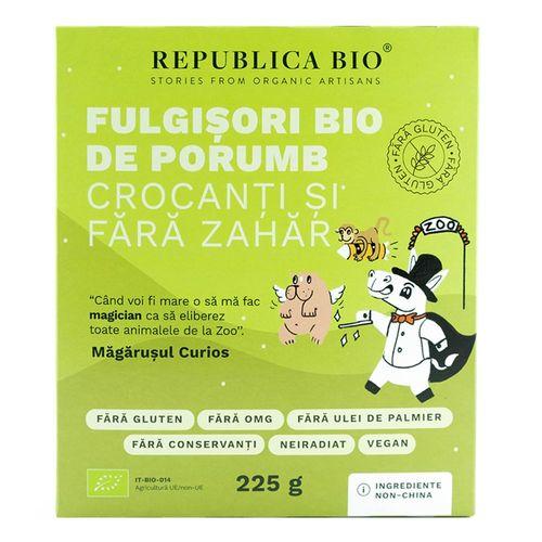 Fulgișori Bio de Porumb Crocanți, Fără Zahăr, Fără Gluten. 225g | Republica BIO