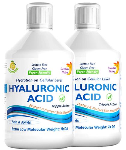 Pachet 2 x Acid Hialuronic Lichid 100Mg Super Concentrat, 500 ml   Swedish Nutra