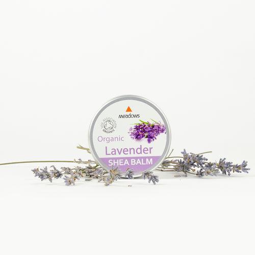 Balsam de Corp Organic cu Unt de Shea și Lavandă, 50ml | Meadows Aroma