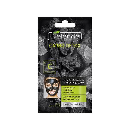CARBO DETOX Mască de Faţă cu Cărbune Activ şi Argilă Verde, pentru Ten Mixt 8g | Bielenda