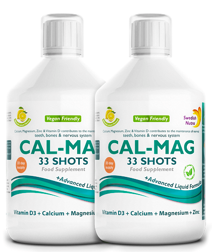 Pachet 2 x CAL-MAG – Calciu + Magneziu + Zinc + Vitamina D3 + Vitamina C – Produs Vegan, 500 ml | Swedish Nutra