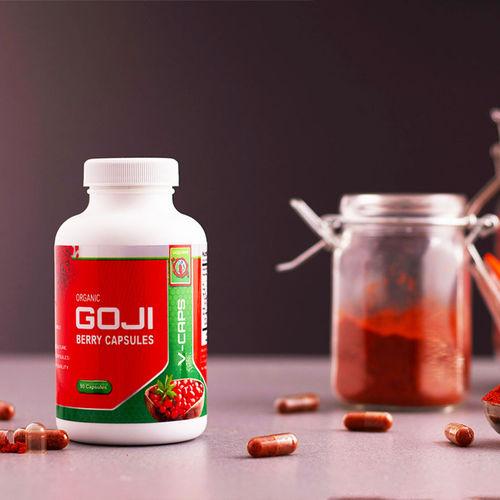 Capsule din fructe de Goji liofilizate, Bio, Vegan, 90 capsule, 500 mg/capsula   Gojiland