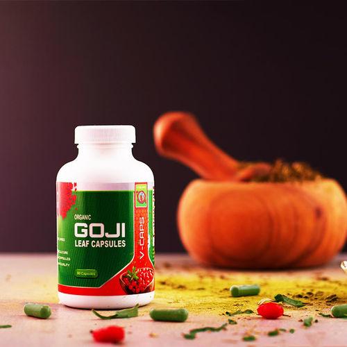 Capsule din frunze de Goji liofilizate, Bio, Vegan, 90 capsule, 500 mg/capsula   Gojiland