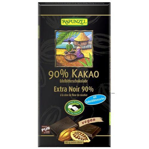 Ciocolata amaruie 90% cacao si zahar de cocos VEGANA 80g | Rapunzel