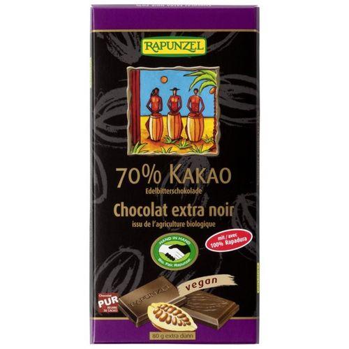 Ciocolată amăruie 70% cacao eco/bio, VEGANĂ, 80g   Rapunzel