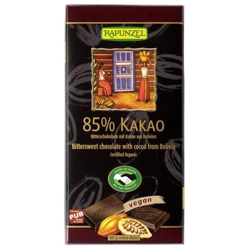 Ciocolată Amăruie 85% Cacao Vegană, 80g | Rapunzel