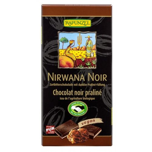 Ciocolata Nirwana neagra cu praline 55% cacao VEGANA 100g | Rapunzel