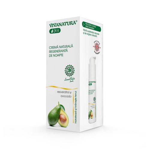 Cremă Naturală Regenerantă de Noapte cu Avocado și Resveratrol, 45ml | Vivanatura
