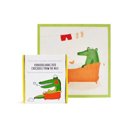 Crocodile from the nile: Sapun natural cu unt de shea si uleiuri de lavanda pentru copii   Uoga Uoga