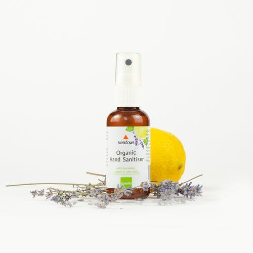 Igienizant Organic pentru Mâini cu Lavandă, Lămâie și Aloe Vera, 50ml | Meadows Aroma