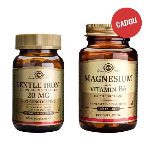 Pachet Gentle Iron™ 20mg, 90 capsule + CADOU Magnesium + B6, 100 tablete  | Solgar