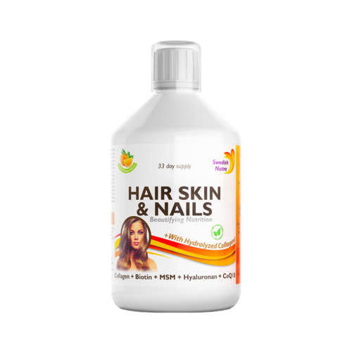 Hair Skin & Nails – Colagen Lichid Hidrolizat 1000mg + 27 Ingrediente Active, 500 ml | Swedish Nutra