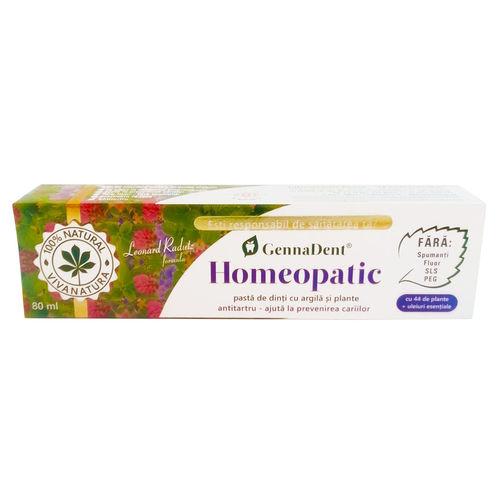 Gennadent Homeopatic Pastă de Dinți cu Argilă și Plante, 80ml | Vivanatura
