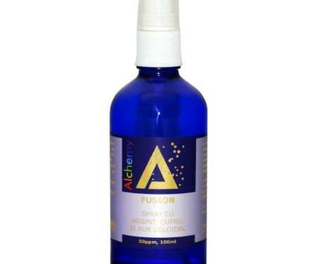 Loțiune pentru îngrijirea pielii, spray cu argint, cupru și aur coloidal 50ppm, Fusion