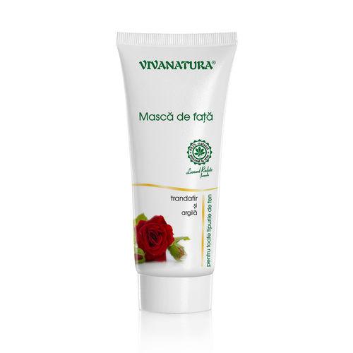 Mască de Față cu Argilă și Trandafir, 75ml | Vivanatura