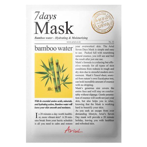 Mască Șervețel 7Days Mask Apă de Bambus, Hidratare și Catifelare, 20g | Ariul