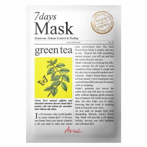 Mască Șervețel 7Days Mask Ceai Verde, Controlul sebumului și Exfoliere, 20g   Ariul