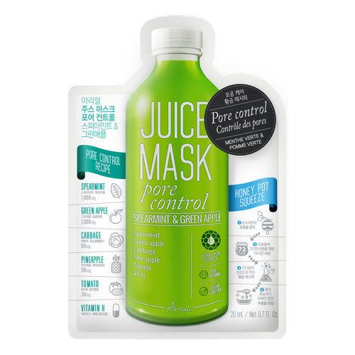 Mască Șervețel Juice Mask Mentă și Măr Verde, Controlul Porilor - Exfoliere și Controlul Sebumului, 20g | Ariul