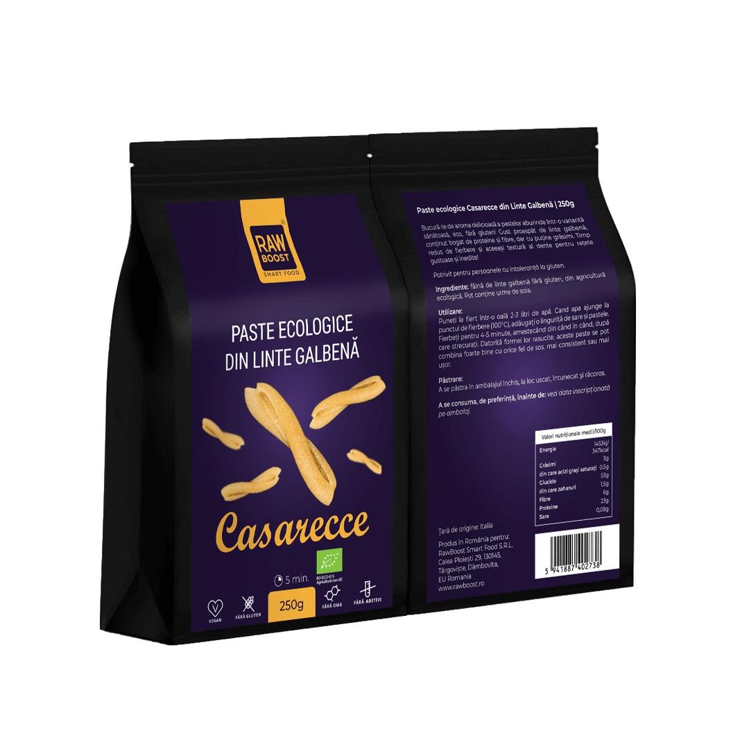 Paste ecologice Casarecce din Linte Galbenă, Fără Gluten, 250g | Rawboost