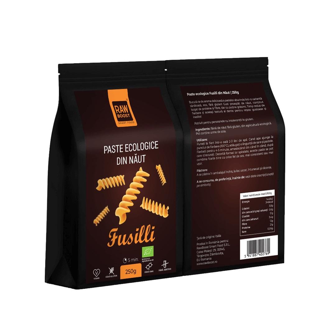 Paste ecologice Fusilli din Năut, Fără Gluten, 250g   Rawboost