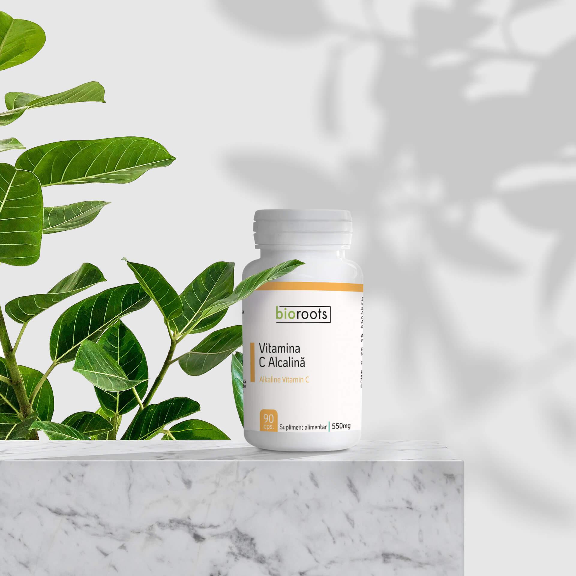 Vitamina C Alcalină 700mg, 90 capsule vegetale (63g)   Bioroots