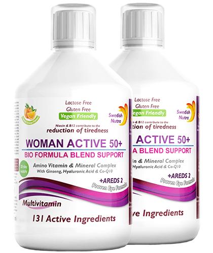 Pachet 2 x Multivitamine Lichide WOMAN ACTIVE 50+ pentru Femeile peste 50 Ani cu 131 Ingrediente, 500 ml   Swedish Nutra