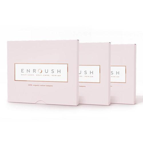 Pachet 3 x Tampoane 100% Organice 8 MINI + 8 NORMAL, 16 bucăți | Enroush
