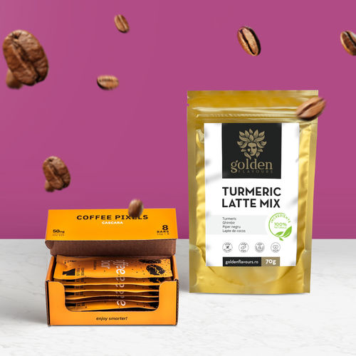 Pachet POWER Coffee Pixels Cascara 8 buc + Turmeric Latte Mix 70g