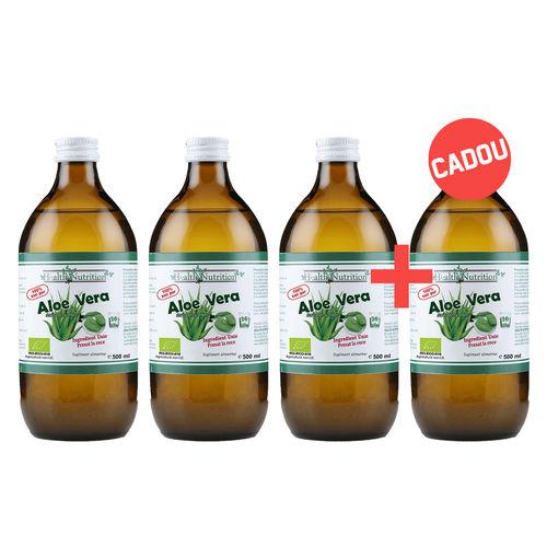Pachet 3+1 Gratis Suc de Aloe Vera 100% Pur, Bio, 500ml   Health Nutrition