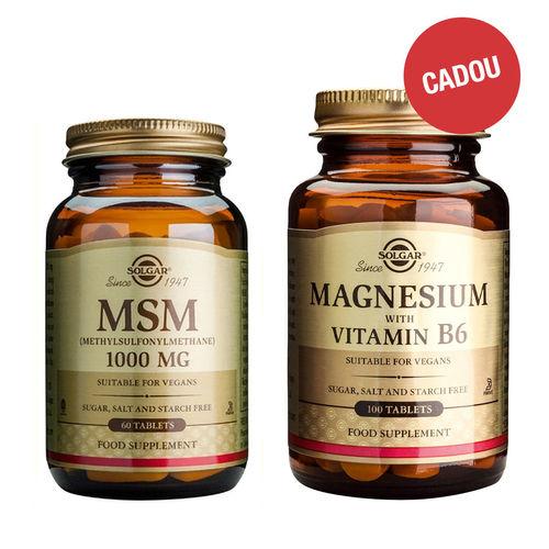 Pachet MSM (Metilsulfonilmetan) 1000mg, 60 tablete + CADOU Magnesium + B6, 100 tablete   Solgar