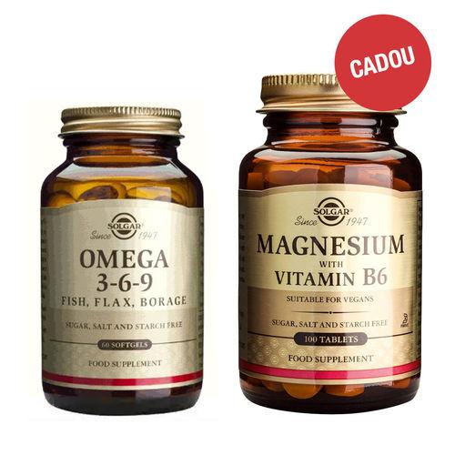 Pachet Omega 3-6-9, 60 capsule + CADOU Magnesium + B6, 100 tablete   Solgar