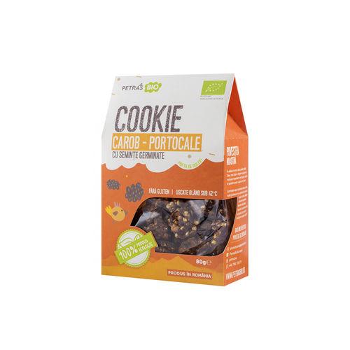 Cookie eco carob portocale cu semințe germinate 80g | Petras Bio