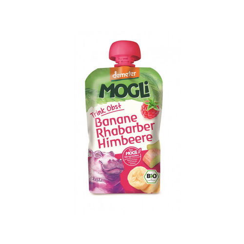 Piure eco/bio de banane, rubarbă şi zmeură 100g | Mogli