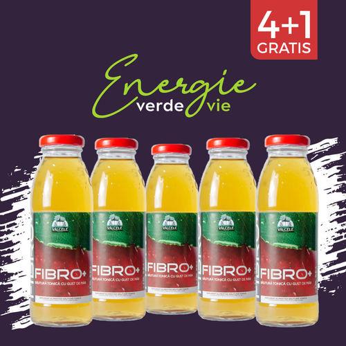 Pachet 4+1 GRATIS FIBRO+ Băutură tonică cu gust de măr, 300ml | Vâlcele
