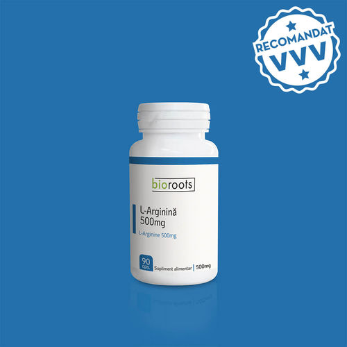 L-Arginină 500mg, 90 capsule vegetale | Bioroots
