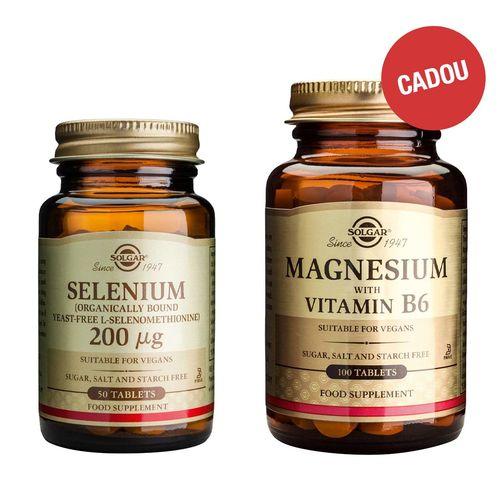 Pachet Seleniu 200mcg, 50 tablete + CADOU Magnesium + B6, 100 tablete  | Solgar