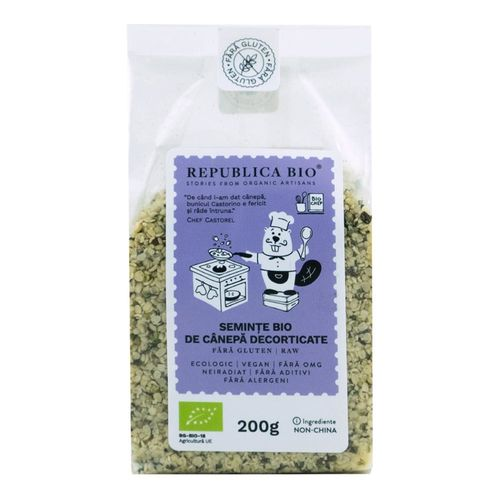 Semințe Bio de Cânepă Decorticate Fără Gluten, 200g | Republica BIO