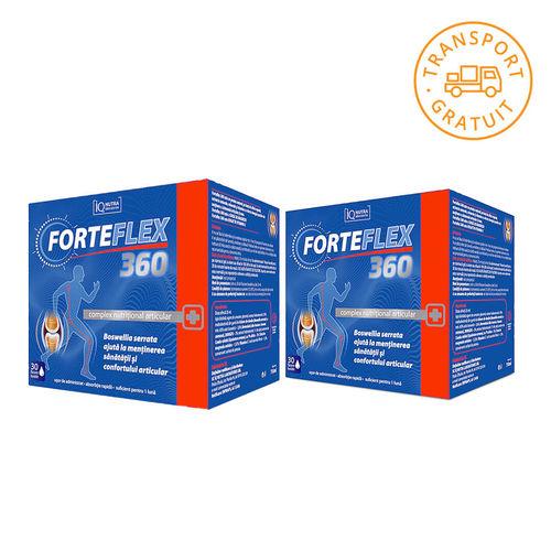 Pachet 2 x FORTEFLEX 360 Complex Nutriţional Articular, 30 flacoane buvabile    IQ Nutra Laboratories