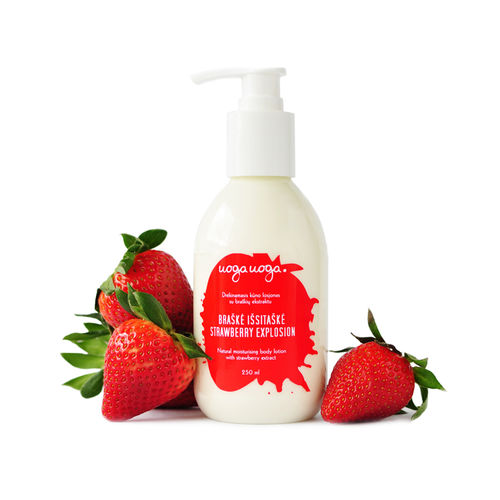 Strawberry Explosion: Lotiune pentru corp hidratanta vegana cu extract de capsuni pentru toate tipurile de piele   Uoga Uoga