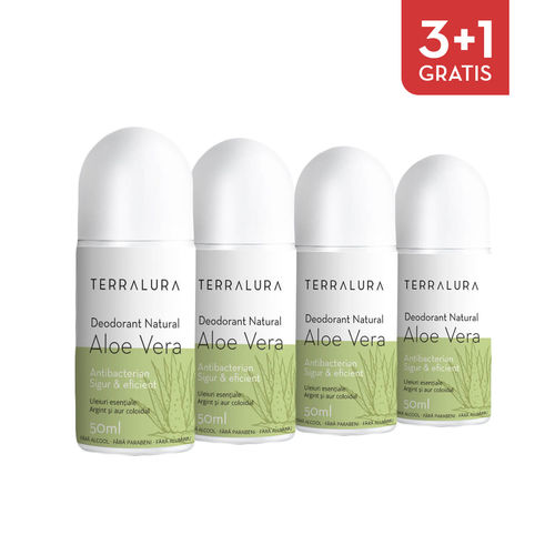 Pachet 3+1 Gratis Deodorant natural roll-on Aloe Vera | Terralura