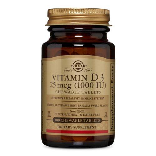 Vitamina D3 (Colecalciferol) 1000IU, 100 tablete masticabile aromate | Solgar