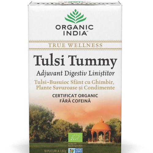 Ceai Digestiv Tulsi Tummy cu Ghimbir 18 pl | Organic India