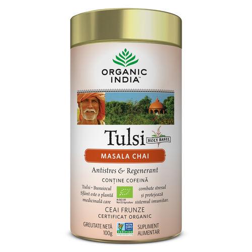 Ceai Tulsi Masala Chai, Antistres & Regenerant 100g | Organic India