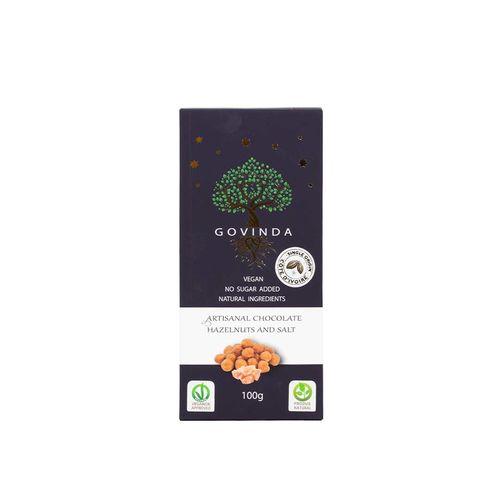 Ciocolată artizanală vegană Alune și Sare, 100g | Govinda