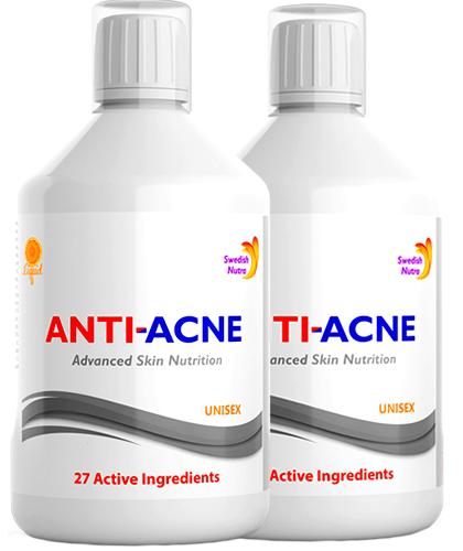 Pachet 2 x Anti-Acnee Complex Lichid cu 27 Ingrediente Active, 500 ml  Swedish Nutra