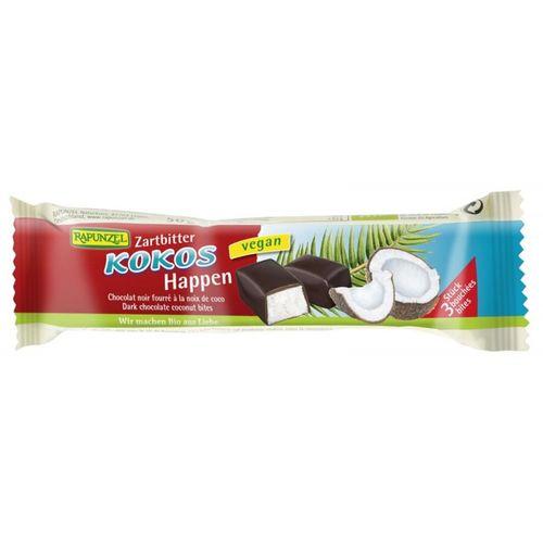Baton de cocos eco/bio cu glazură de ciocolată amăruie VEGAN, 50g