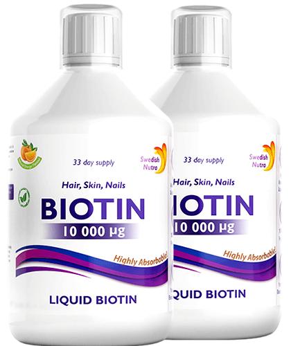 Pachet 2 x Biotină Lichidă 10.000mcg pentru Frumusețe și Energie - Super Concentrat – Calitate Premium, 500 ml   Swedish Nutra