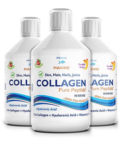 Pachet 3 x Colagen Marin Hidrolizat 10000mg cu  9 Ingrediente Active, 500 ml   Swedish Nutra
